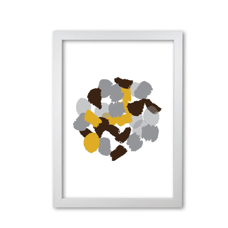 Mustard abstract paint splodge modern fine art print