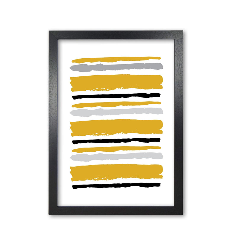 Mustard contrast abstract stripes modern fine art print