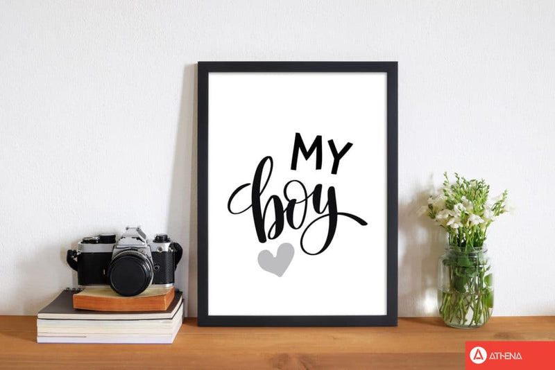 My boy black modern fine art print, framed childrens nursey wall art poster