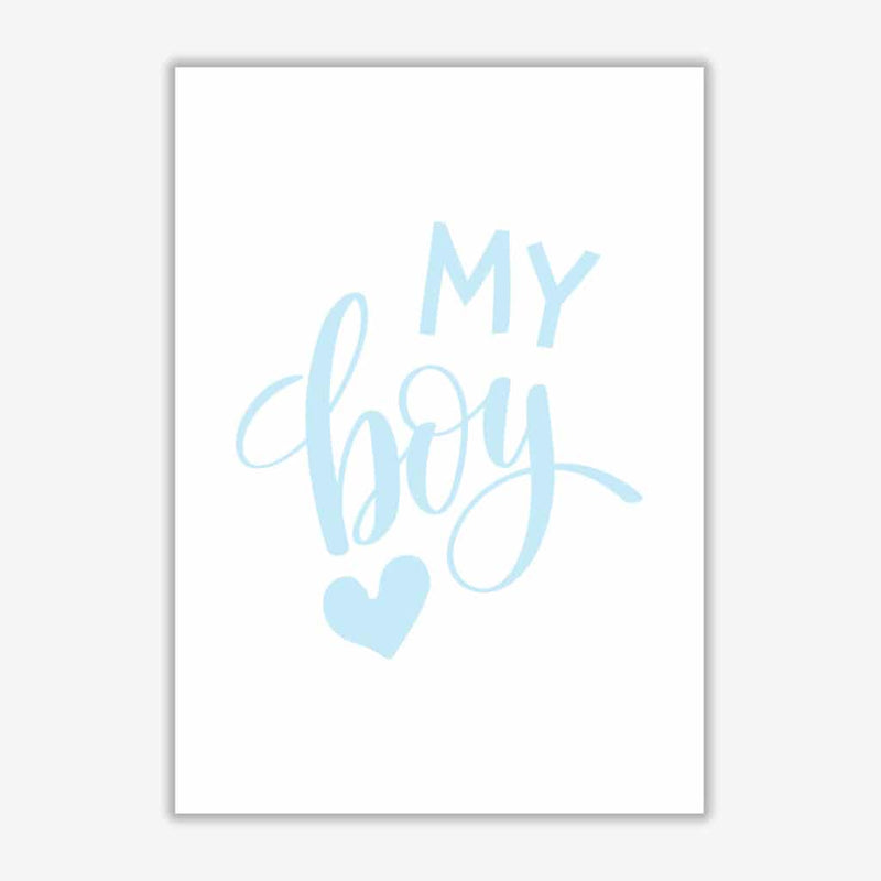 My boy blue modern fine art print, framed childrens nursey wall art poster