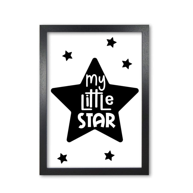My little star black modern fine art print, framed childrens nursey wall art poster