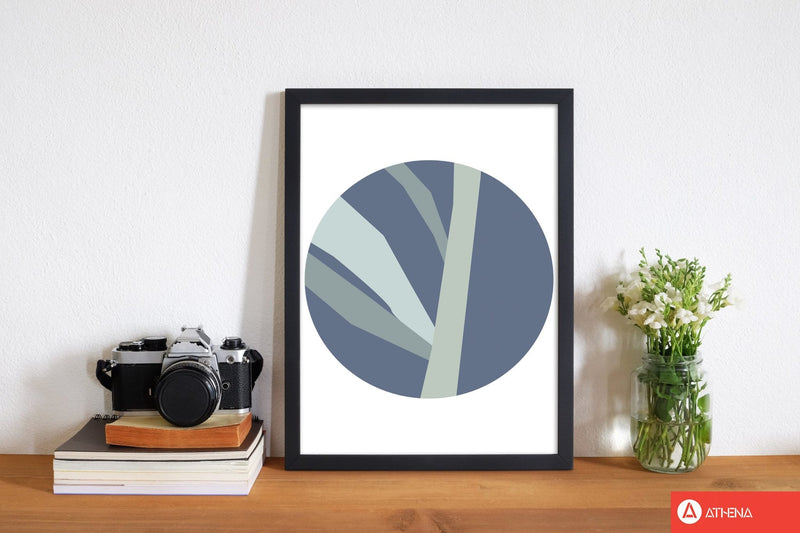 Navy abstract circle with branches modern fine art print