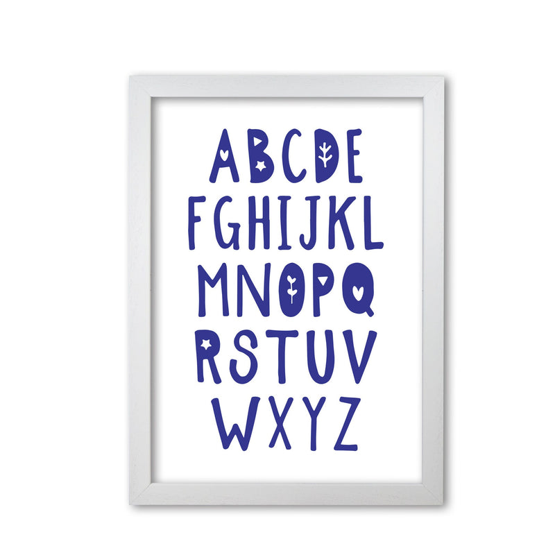 Navy alphabet modern fine art print, framed typography wall art