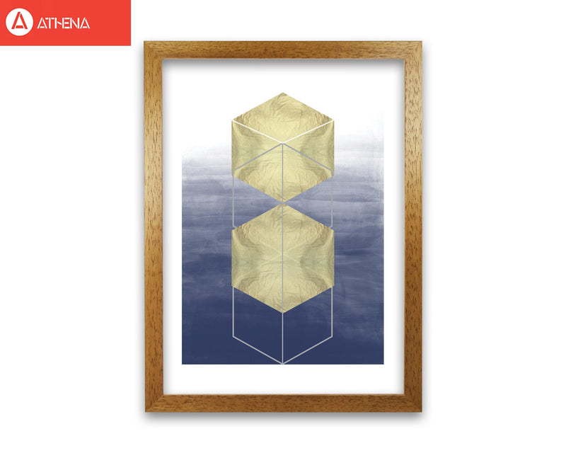 Navy and gold abstract hexagons modern fine art print