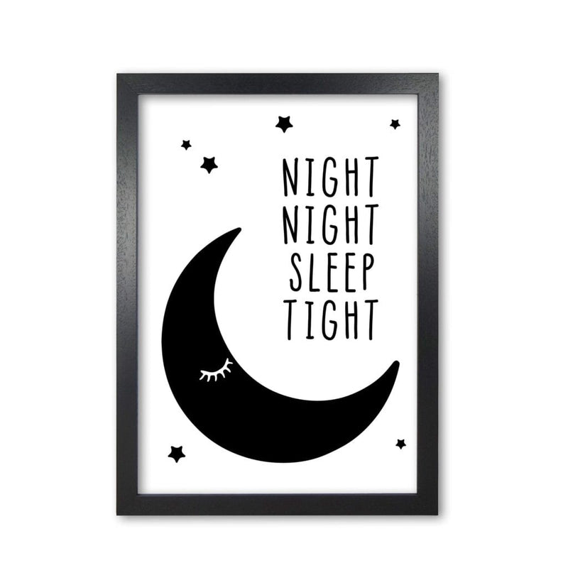 Night night moon black modern fine art print, framed childrens nursey wall art poster