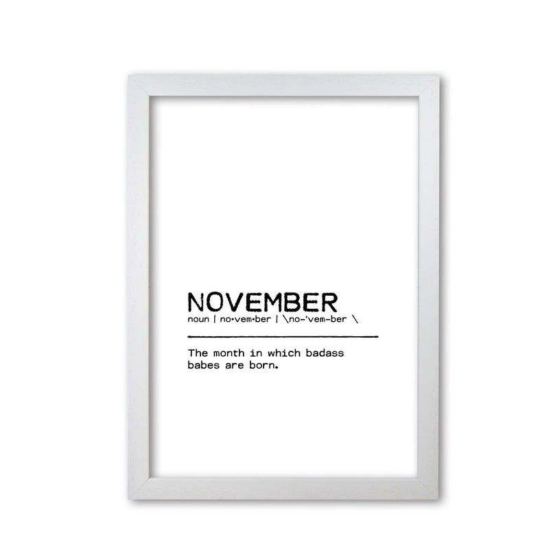 November badass definition quote fine art print by orara studio