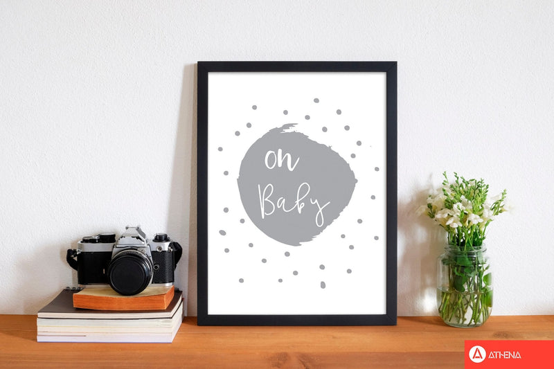 Oh baby grey modern fine art print, framed typography wall art