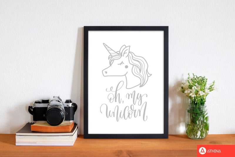 Oh my unicorn grey modern fine art print, framed childrens nursey wall art poster