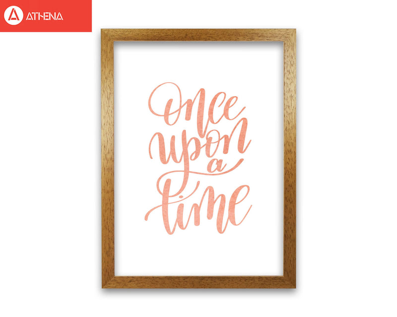 Once upon a time peach watercolour modern fine art print, framed typography wall art