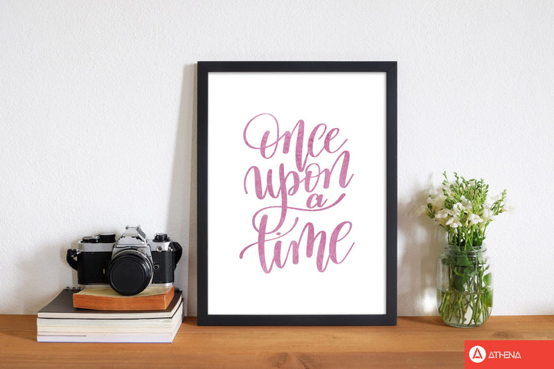 Once upon a time pink watercolour modern fine art print, framed typography wall art