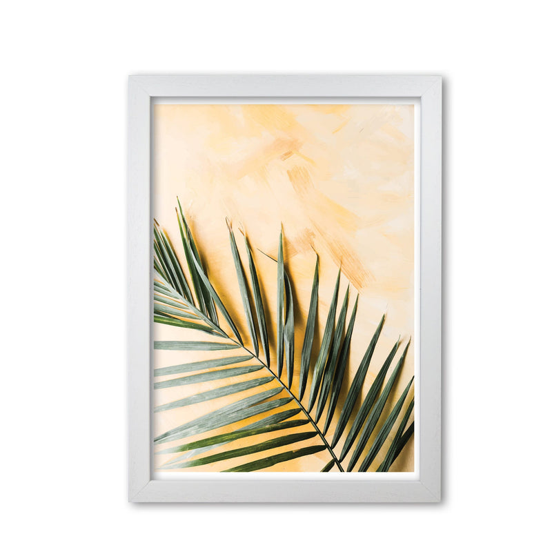 Palm leaf yellow modern fine art print, framed botanical &