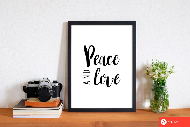Peace and love modern fine art print, framed typography wall art