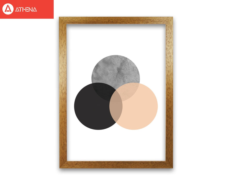 Peach and black abstract circles modern fine art print