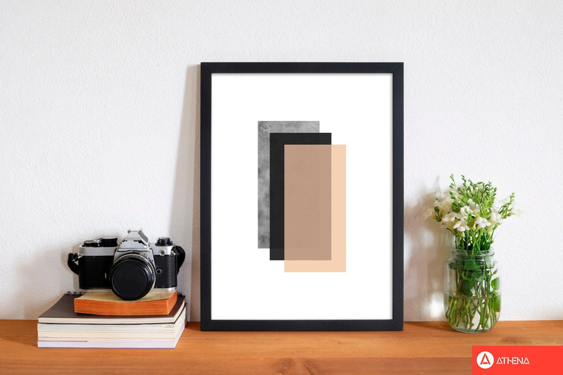 Peach and black abstract rectangles modern fine art print