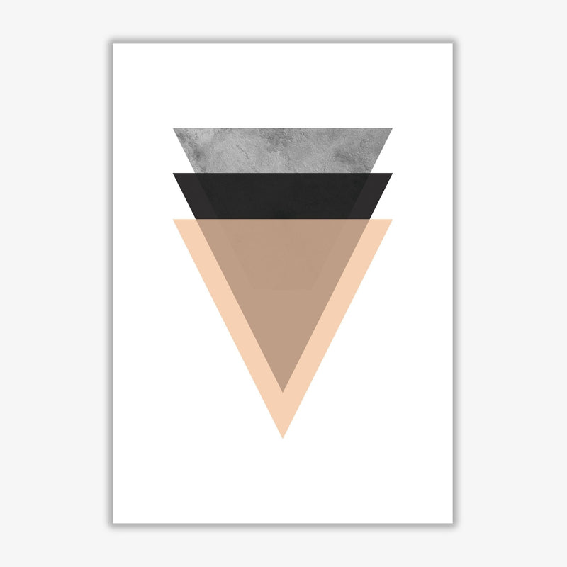 Peach and black abstract triangles modern fine art print