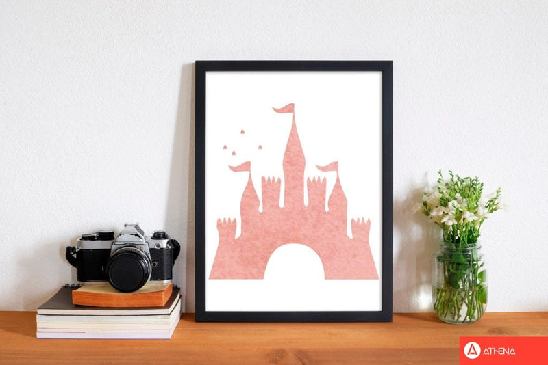 Peach castle watercolour modern fine art print