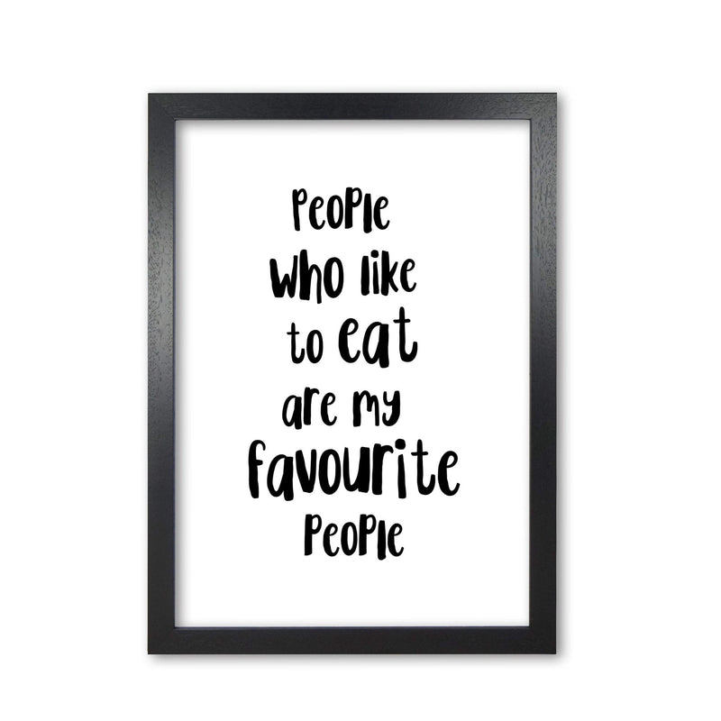 People who like to eat modern fine art print, framed typography wall art