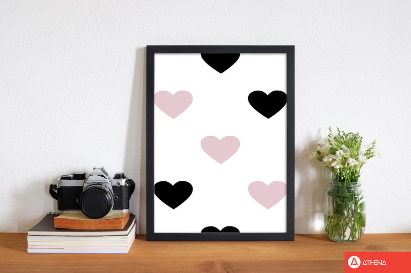 Pink and black hearts modern fine art print