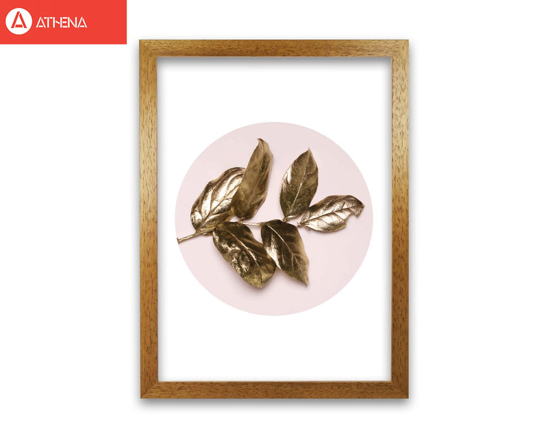Pink and gold leaf modern fine art print, framed botanical &
