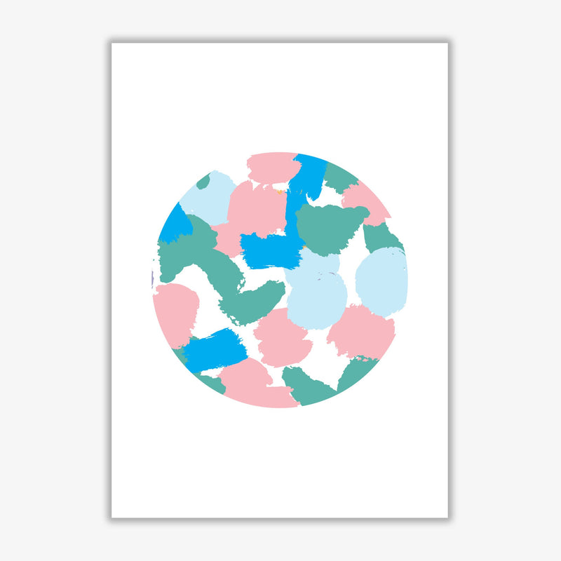 Pink and green paint splodge circle abstract modern fine art print