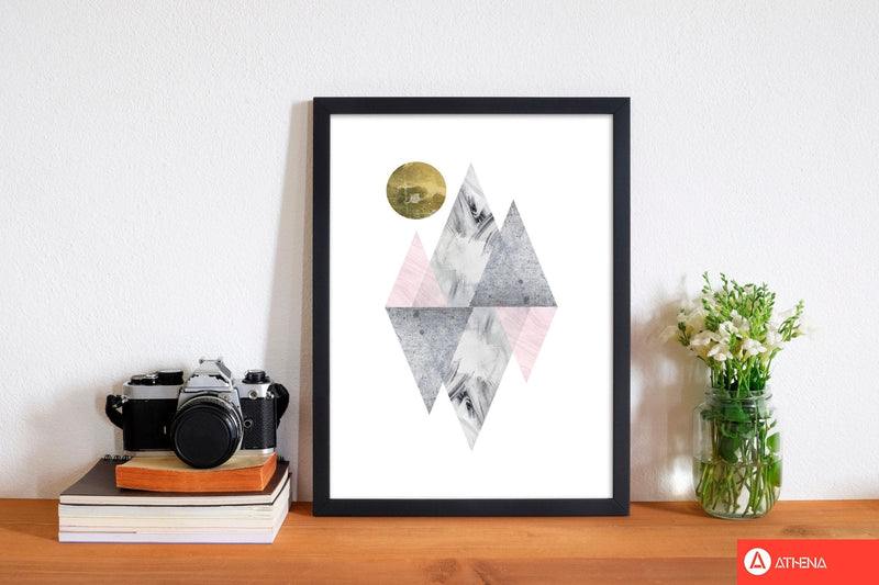 Pink and grey diamonds with gold moon abstract modern fine art print