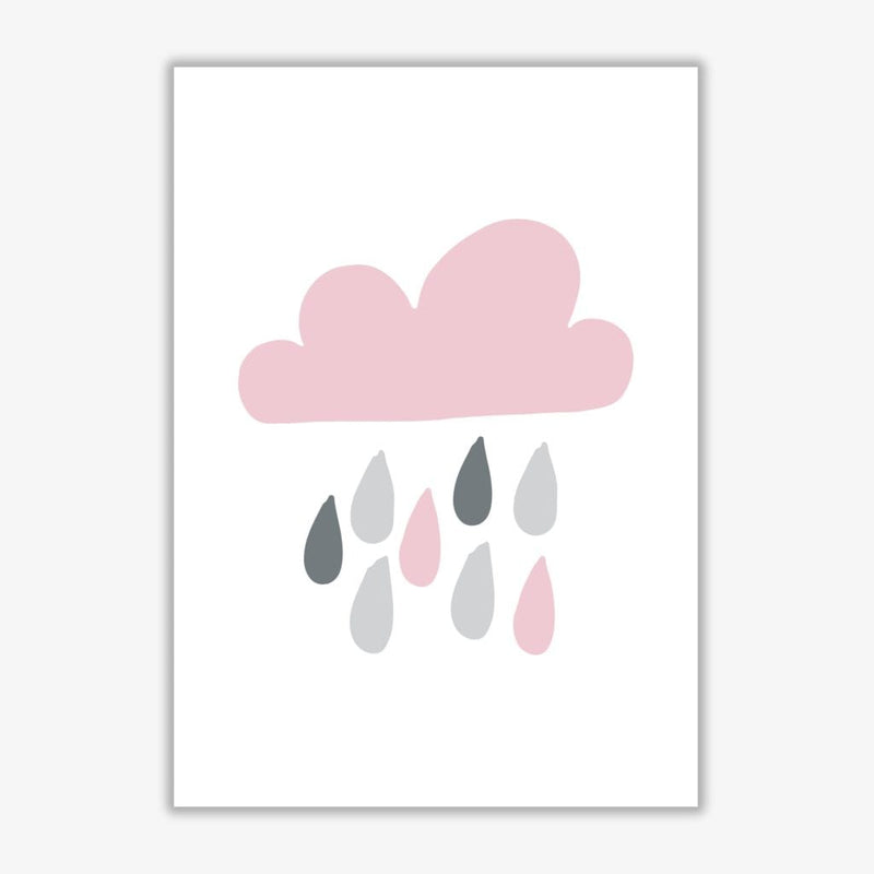Pink and grey rain cloud modern fine art print, framed childrens nursey wall art poster
