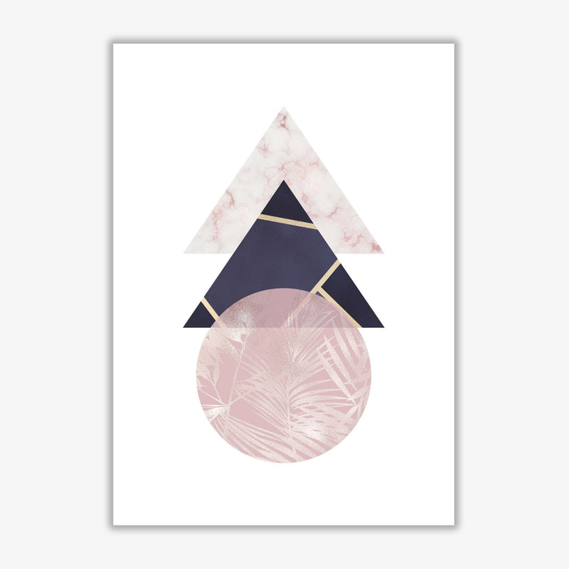 Pink and navy marble abstract triangles and circle modern fine art print
