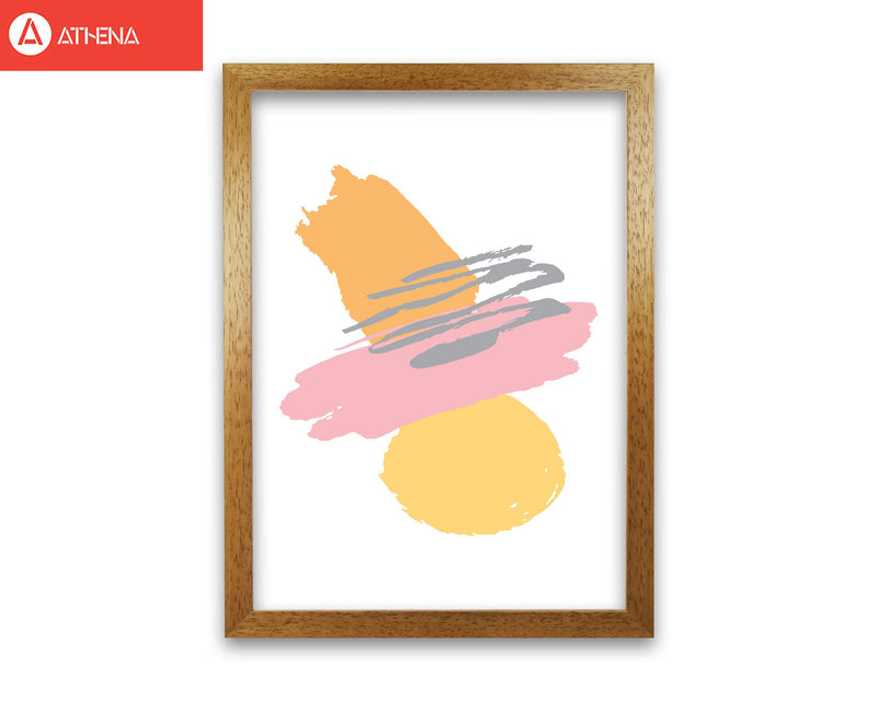 Pink and orange abstract paint shapes modern fine art print