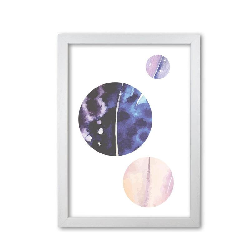 Pink and purple watercolour planets abstract modern fine art print
