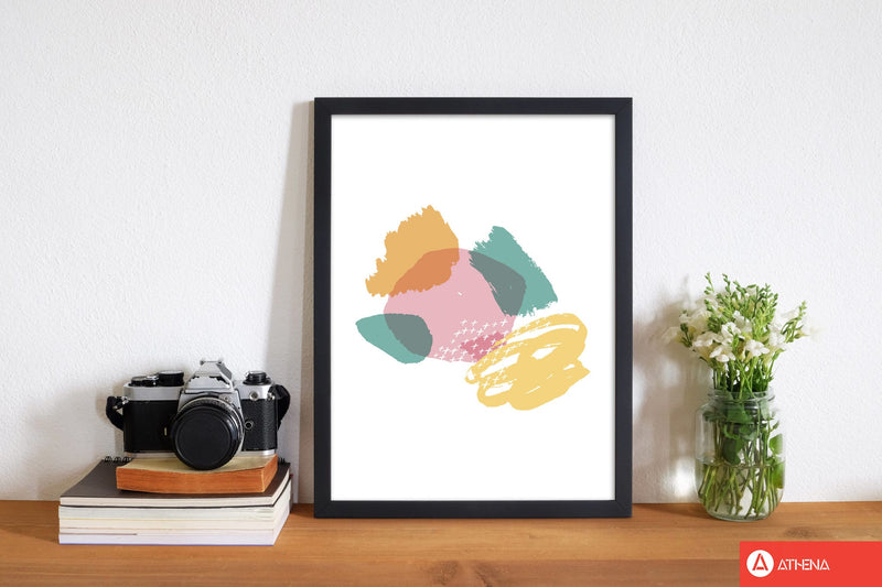 Pink and teal mismatch abstract modern fine art print