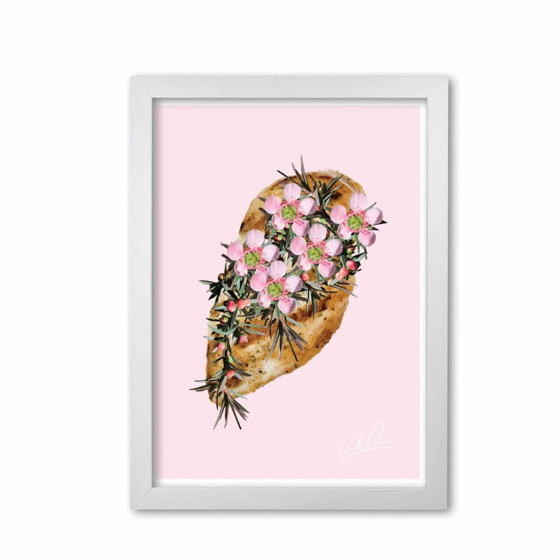Pink chicken floral food porn modern fine art print, framed kitchen wall art