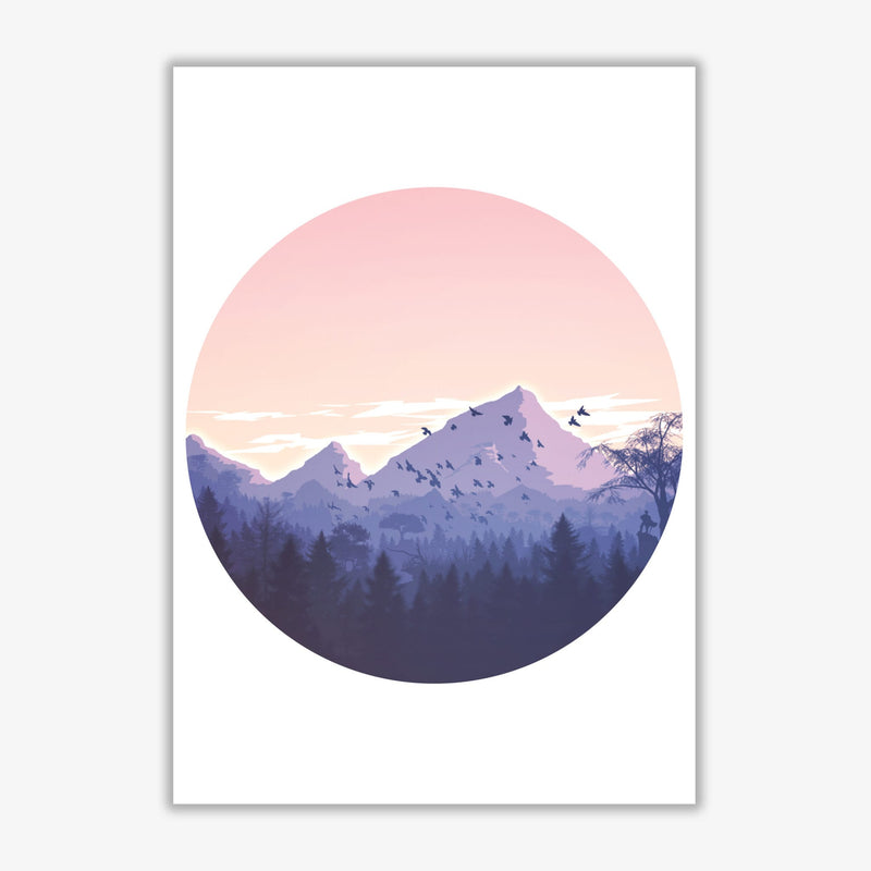 Pink mountains circle abstract modern fine art print