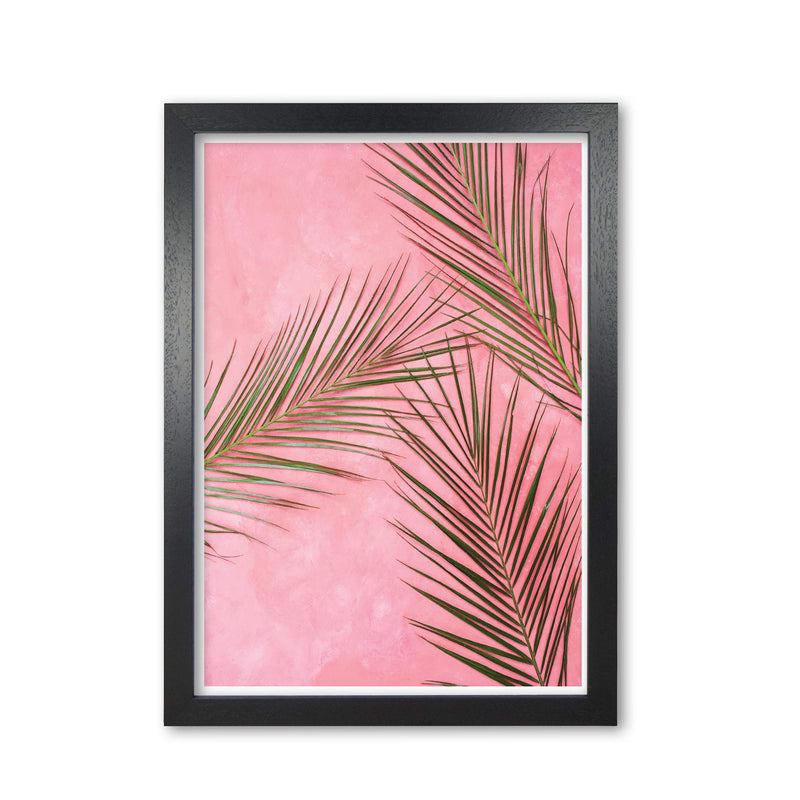 Pink palm leaves modern fine art print, framed botanical &