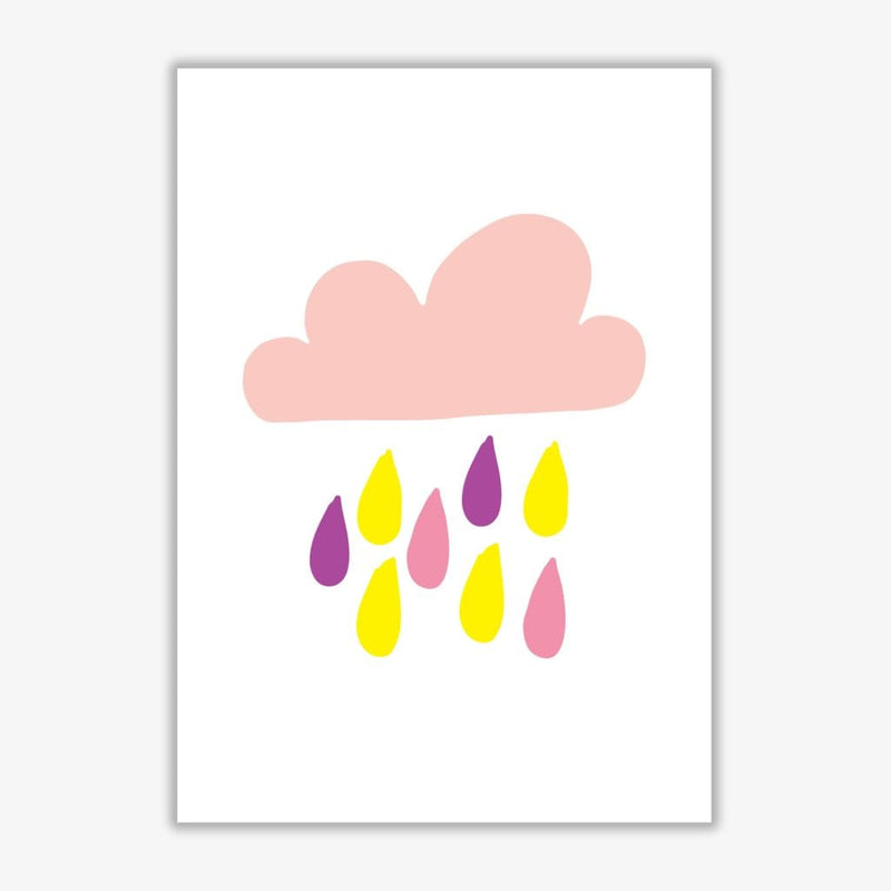 Pink rain cloud modern fine art print, framed childrens nursey wall art poster