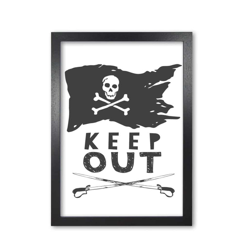 Pirate keep out modern fine art print, framed childrens nursey wall art poster