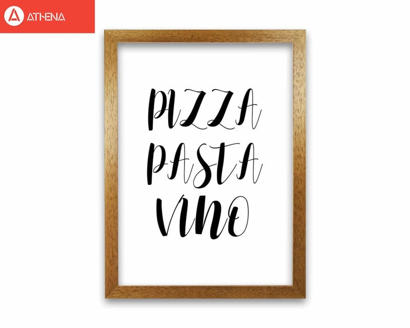 Pizza pasta vino modern fine art print, framed kitchen wall art