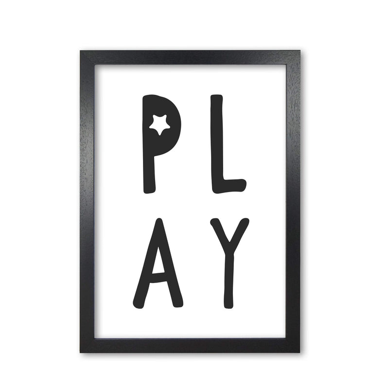 Play black modern fine art print, framed typography wall art