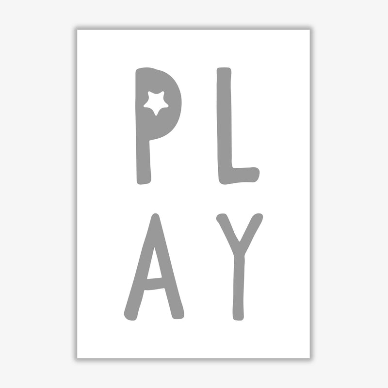 Play grey modern fine art print, framed typography wall art