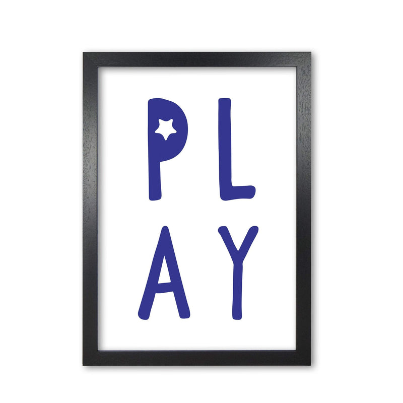 Play navy modern fine art print, framed typography wall art