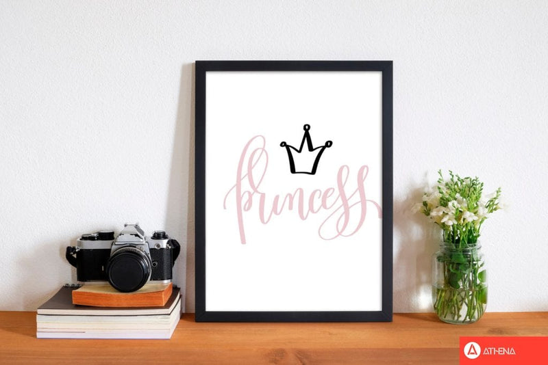 Princess pink and black modern fine art print, framed childrens nursey wall art poster