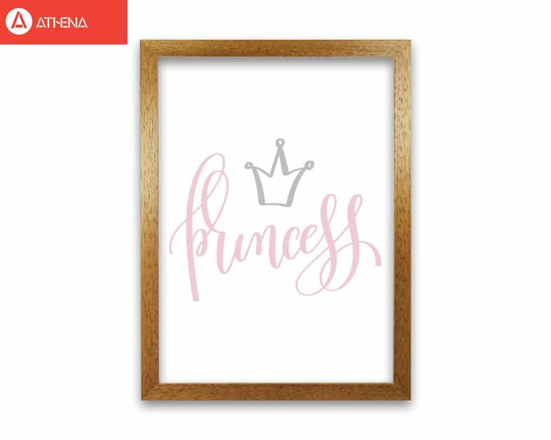 Princess pink and grey modern fine art print, framed childrens nursey wall art poster