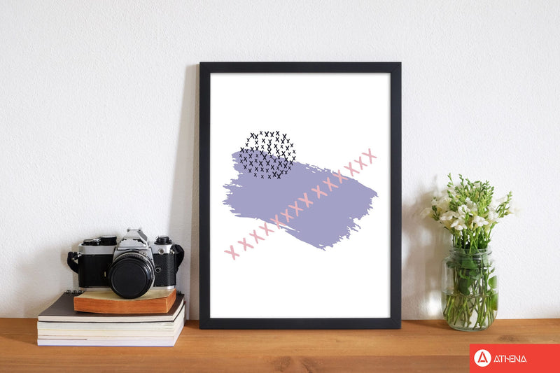 Purple x paint brush abstract modern fine art print