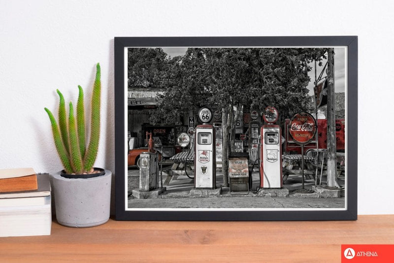 Retro black and red gas pumps modern fine art print