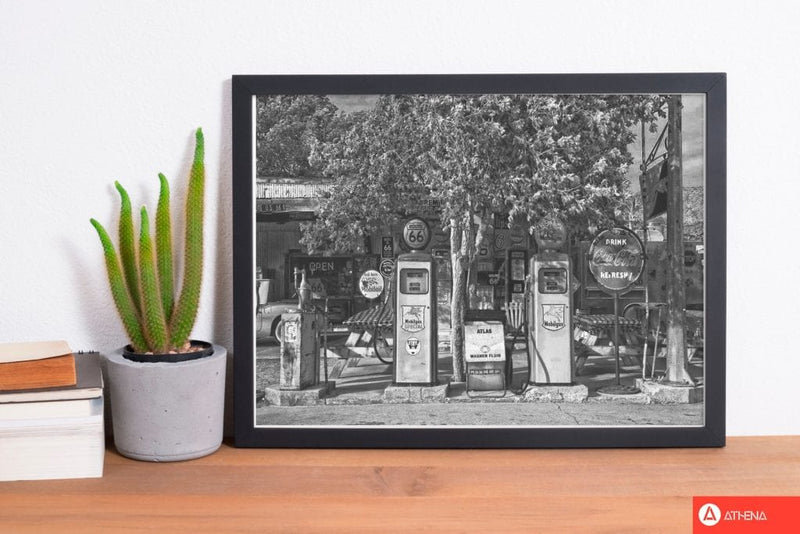 Retro black and white gas pumps modern fine art print