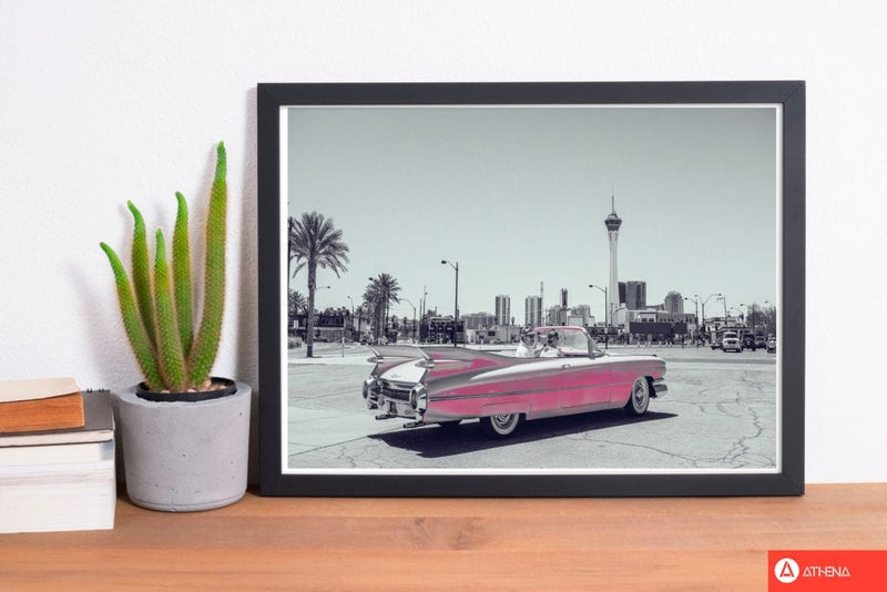 Retro pink car modern fine art print