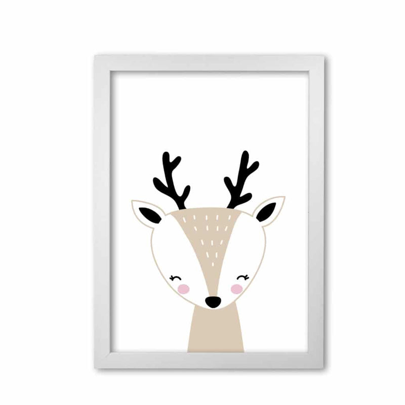 Scandi beige deer modern fine art print, framed childrens nursey wall art poster
