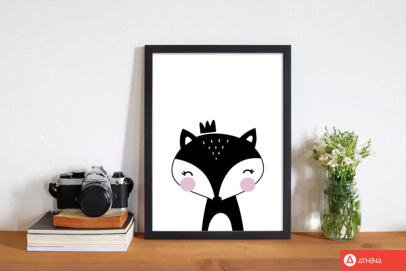 Scandi black fox with crown modern fine art print, framed childrens nursey wall art poster
