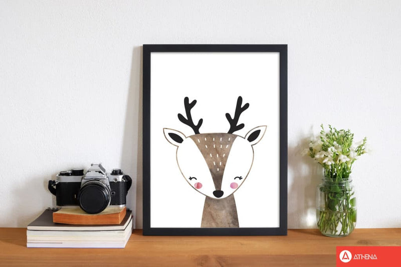 Scandi brown deer watercolour modern fine art print, framed childrens nursey wall art poster