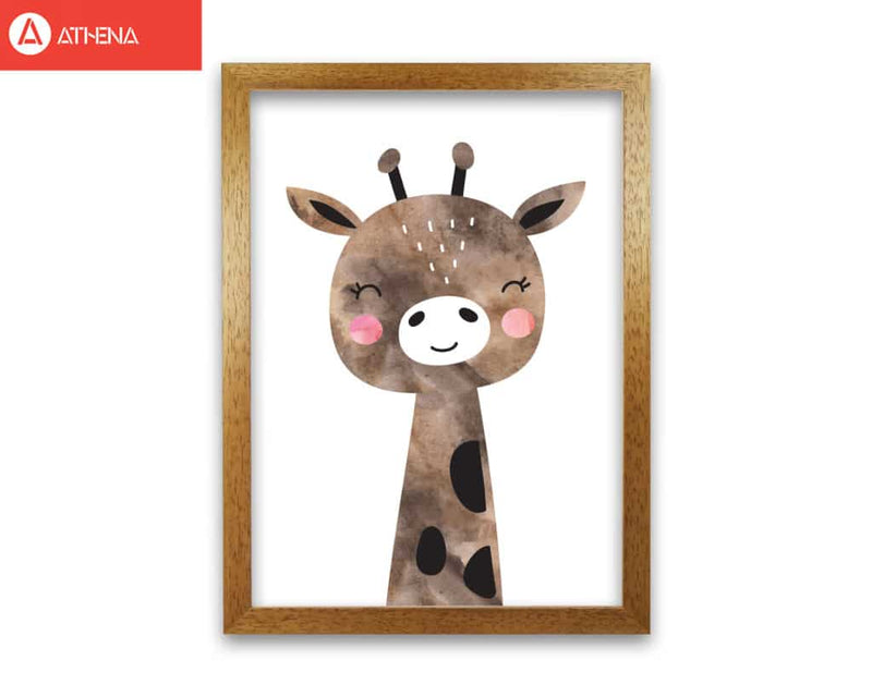Scandi brown giraffe watercolour modern fine art print, framed childrens nursey wall art poster