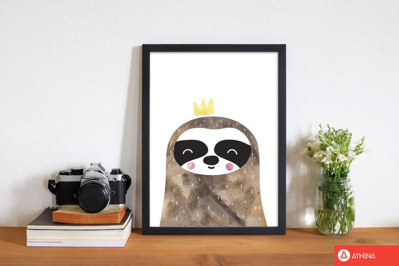 Scandi brown sloth watercolour modern fine art print, framed childrens nursey wall art poster